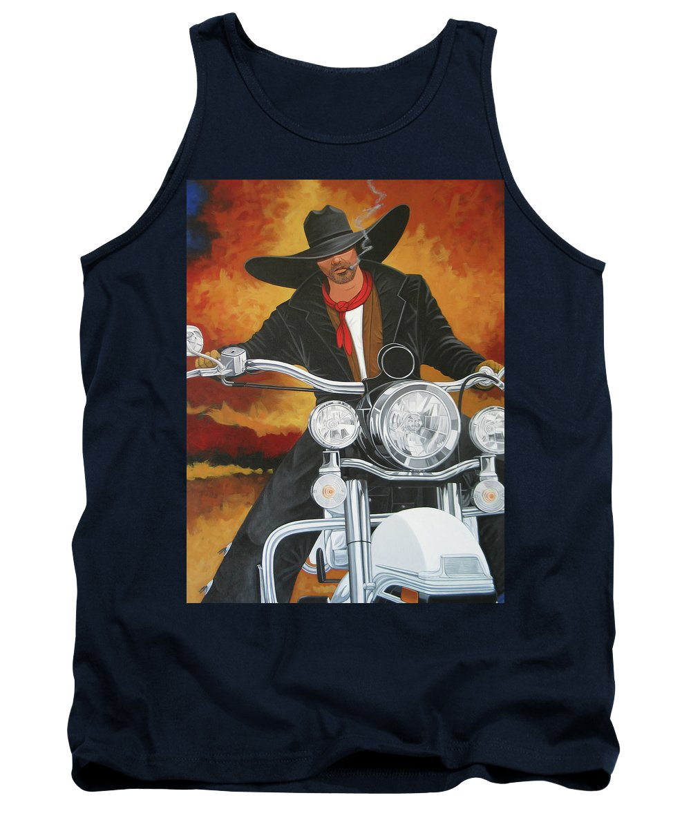 Cowboy On Motorcycle Tank Top featuring the painting Steel Pony by Lance Headlee