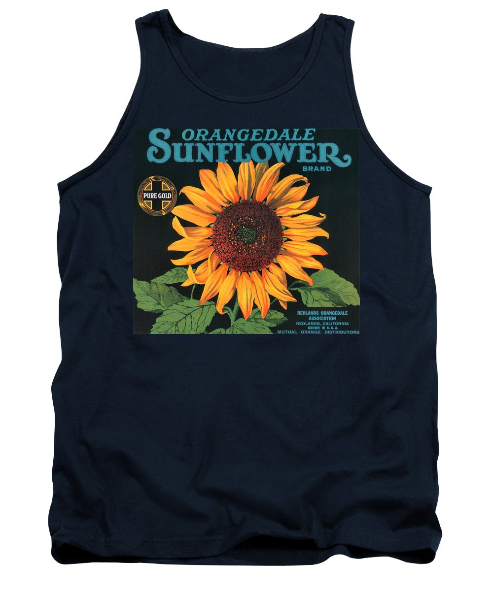 Sunflower Brand Crate Label Tank Top featuring the digital art Sunflower Brand Crate Label by Label Art
