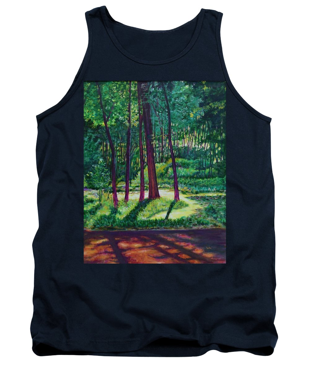 Nature Tank Top featuring the painting Sunlight Peeping Through. by Usha Shantharam