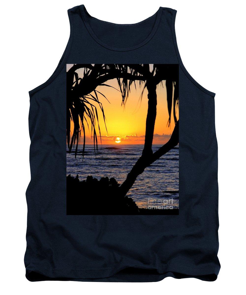 Seascape Tank Top featuring the photograph Sunrise Fuji Beach Kauai by Mary Deal