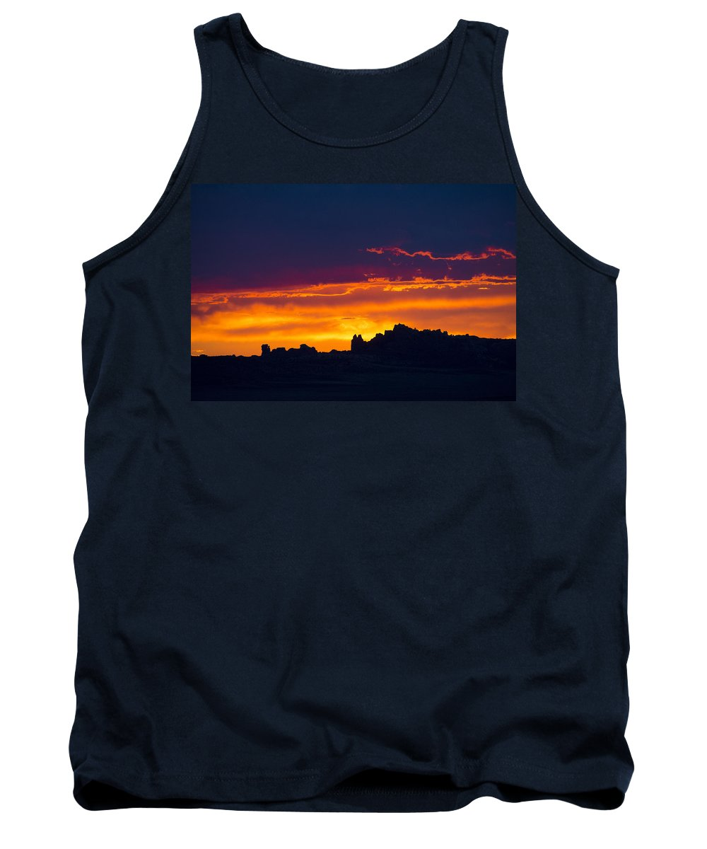 Photography Tank Top featuring the digital art Sunset At Landscape Arch by Neal Hebert