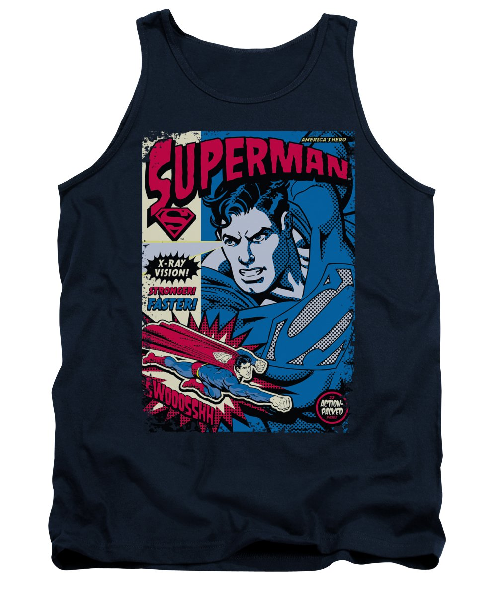 Superman Tank Top featuring the digital art Superman - Action Packed by Brand A