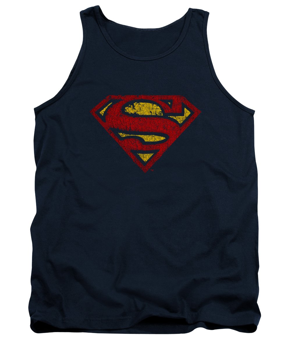 Superman Tank Top featuring the digital art Superman - Crackle S by Brand A
