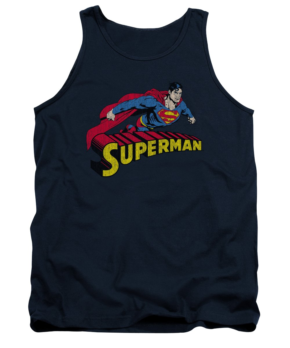 Superman Tank Top featuring the digital art Superman - Flying Over by Brand A