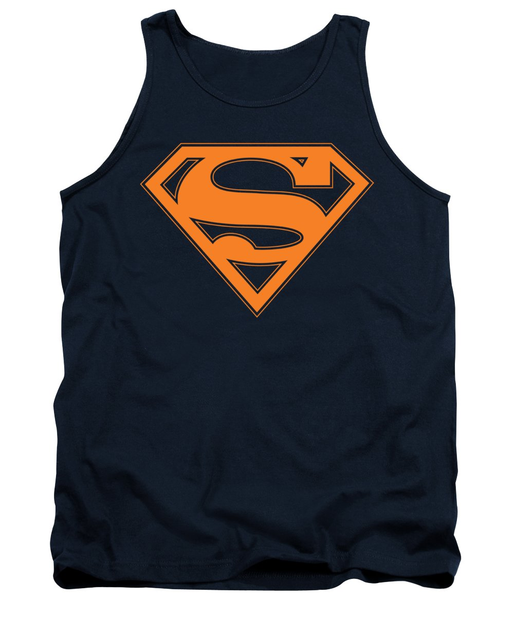 Superman Tank Top featuring the digital art Superman - Navy And Orange Shield by Brand A