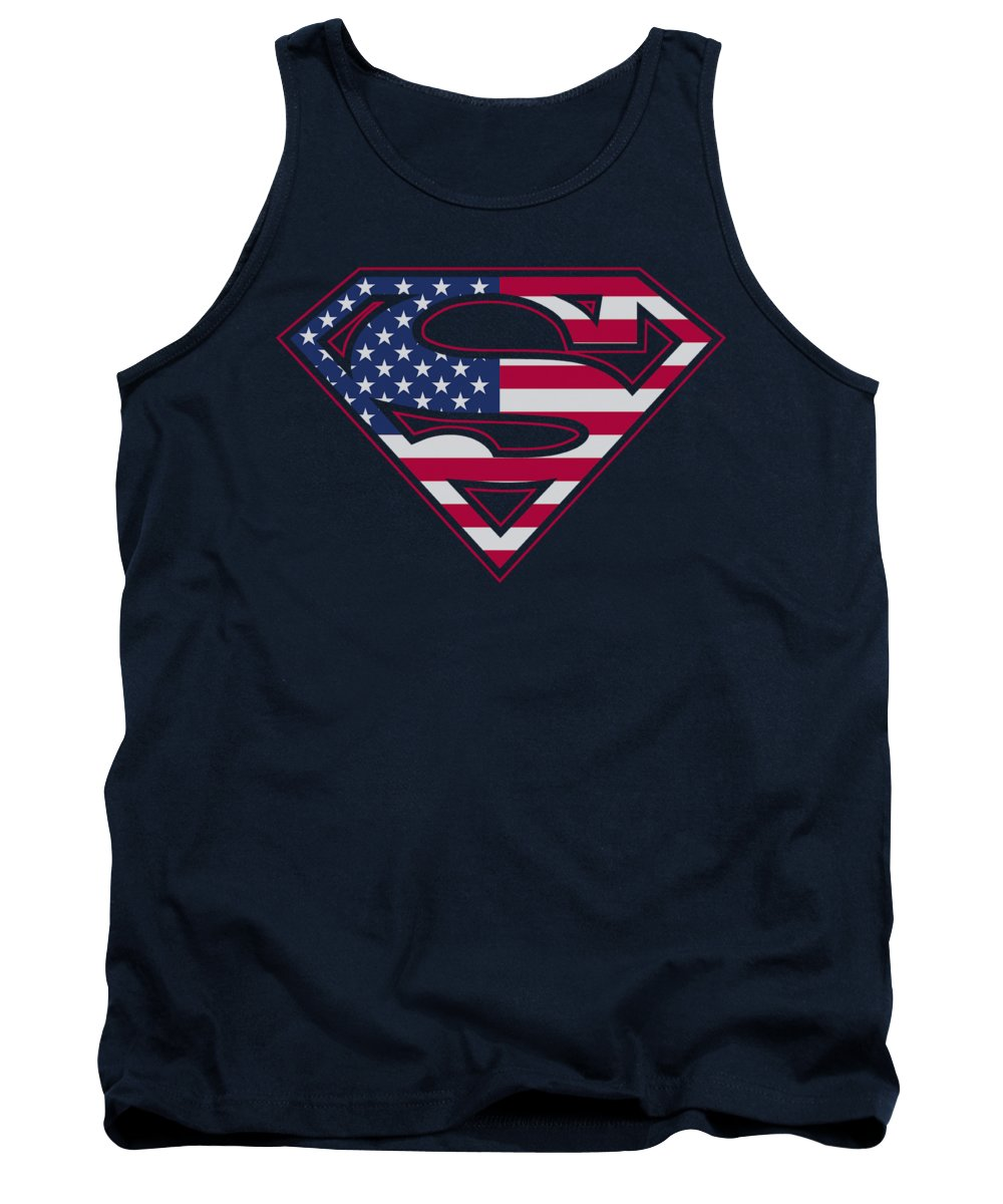 Superman Tank Top featuring the digital art Superman - U S Shield by Brand A