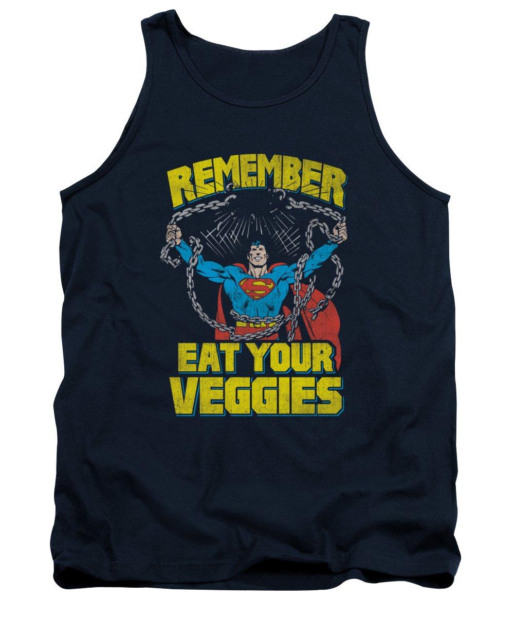 Superman Tank Top featuring the digital art Superman - Veggie Power by Brand A