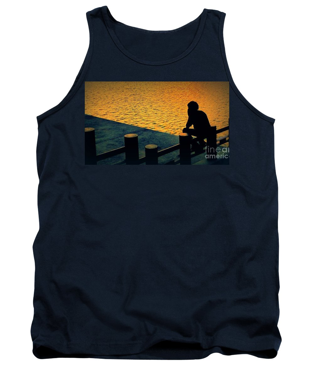 Silhouette Tank Top featuring the photograph Taking In The Day by Ian Gledhill