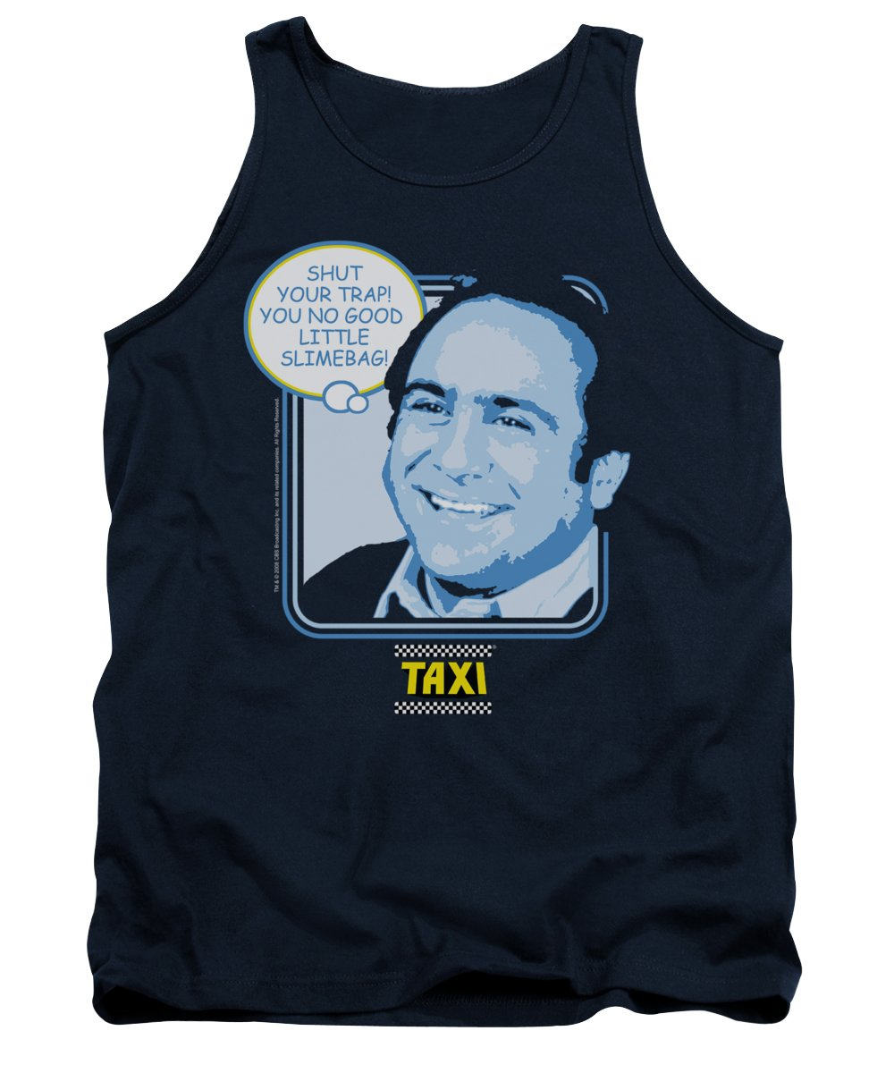 Taxi Tank Top featuring the digital art Taxi - Shut Your Trap by Brand A