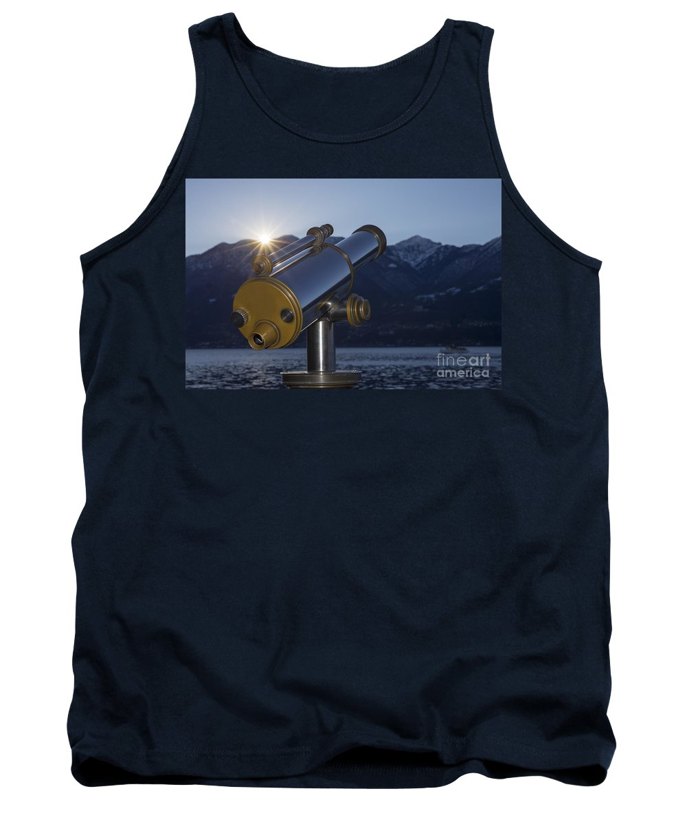 Telescope Tank Top featuring the photograph Telescope And Sunrise by Mats Silvan