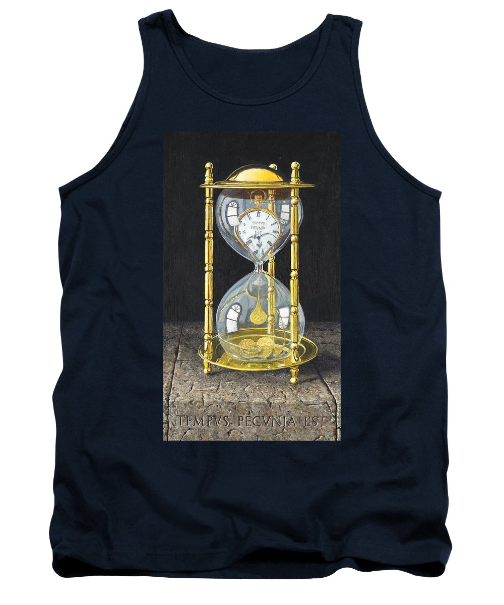 Still Life Tank Top featuring the painting Tempus Pecunia Est by Richard Harpum
