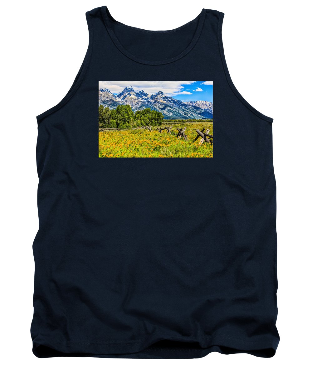 Places Tank Top featuring the photograph Tetons In The Spring by Leon Roland