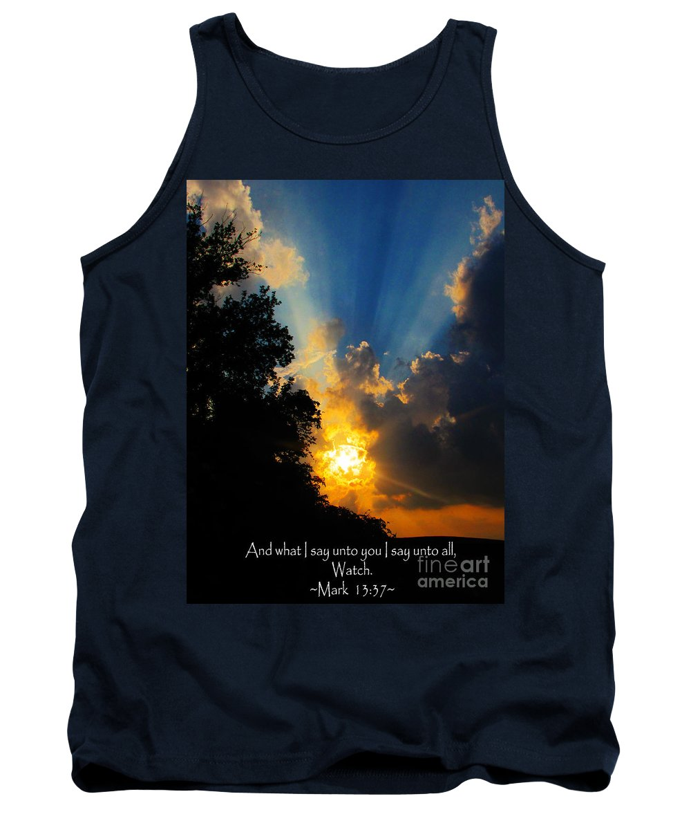 Jesus Christ Tank Top featuring the photograph The Bible Mark 13 37 by Ron Tackett