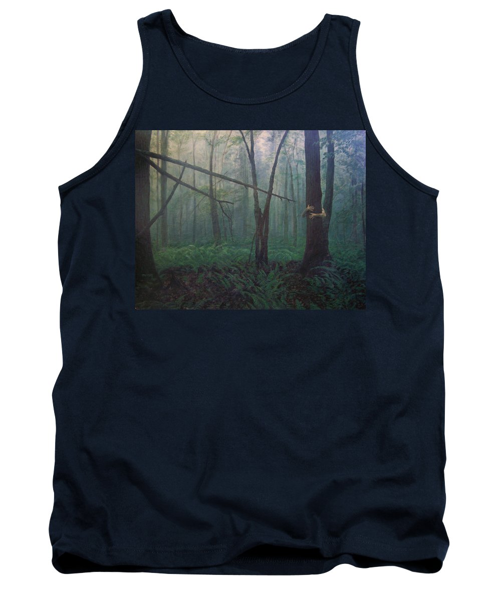 Realism Tank Top featuring the painting The Blue-green Forest by Derek Van Derven