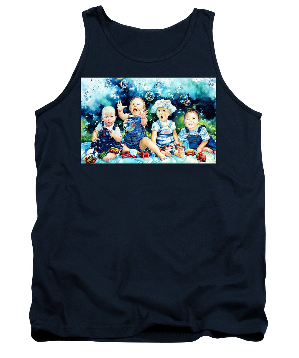 Child Portrait Tank Top featuring the painting The Bubble Gang by Hanne Lore Koehler