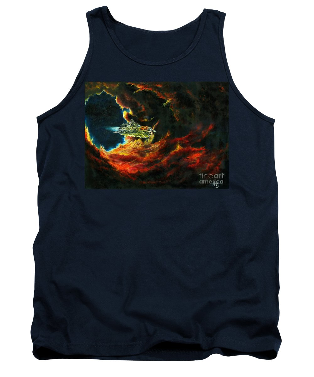 Devil Tank Top featuring the painting The Devil's Lair by Murphy Elliott