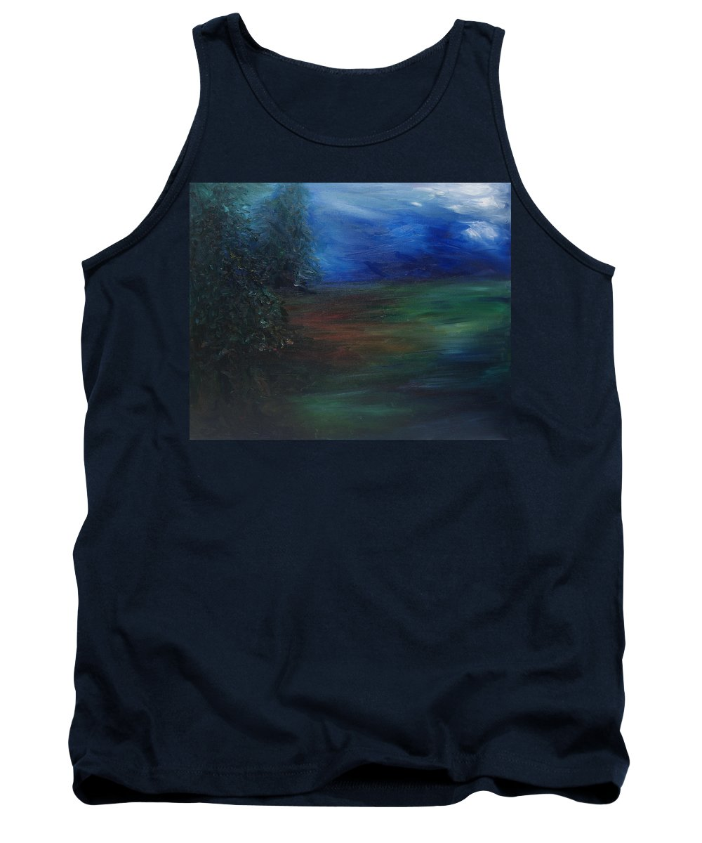 Woodland Tank Top featuring the painting The Edge Of The Woods by Christine Cobden