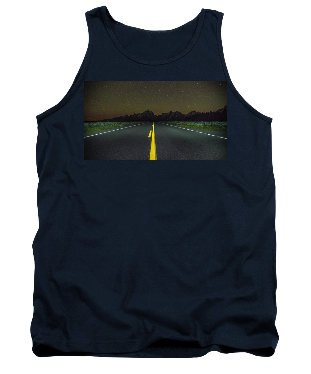 Grand Teton Tank Top featuring the photograph The Long Road by Kristopher Schoenleber