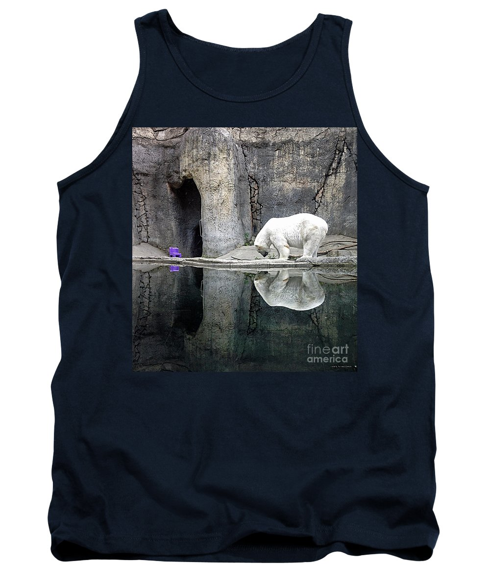 Polar Bear Tank Top featuring the photograph The Polar Bear And The Purple Chair by Gwyn Newcombe