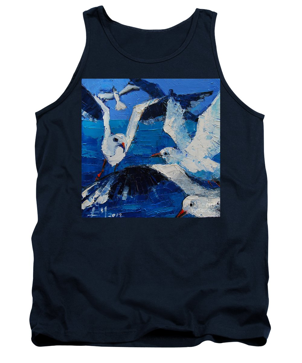 The Seagulls Tank Top featuring the painting The Seagulls by Mona Edulesco