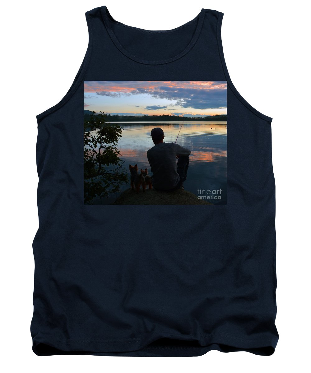 Saranac Lake Ny Tank Top featuring the photograph Three Fishing One Pole by Christine Dekkers