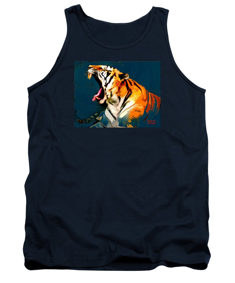 Tiger Tank Top featuring the painting Tiger 002 by Budiyono Sarmani