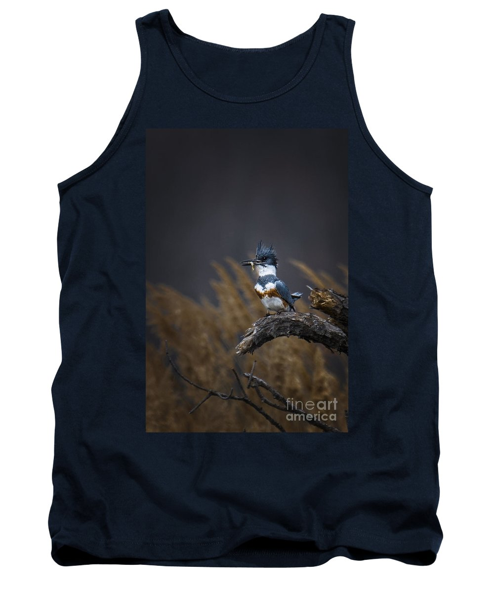 Belted Kingfisher Tank Top featuring the photograph Time For Lunch by Ronald Lutz