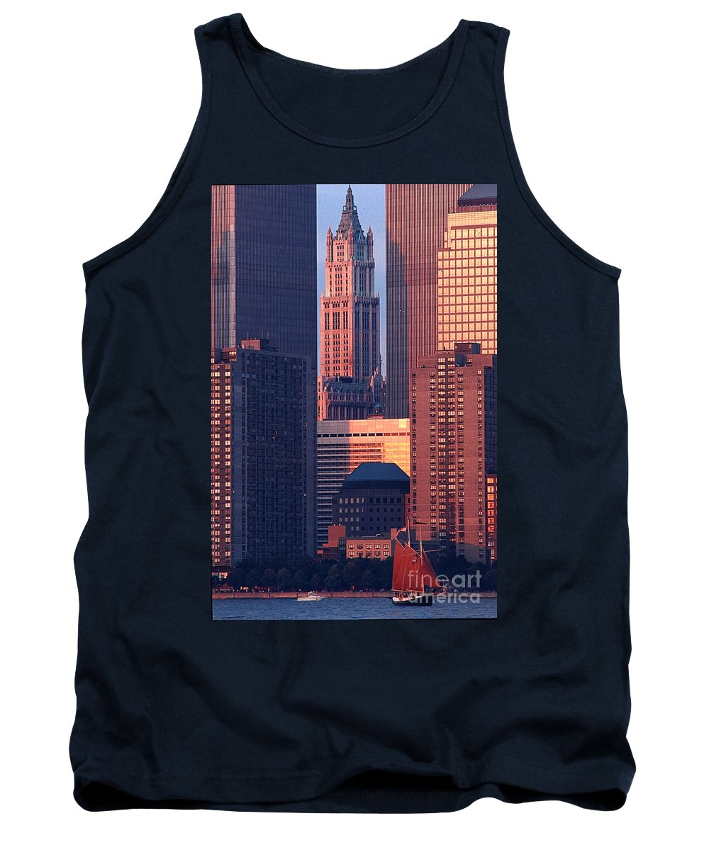 New York City Tank Top featuring the photograph Towers And Sailboat by Bruce Bain