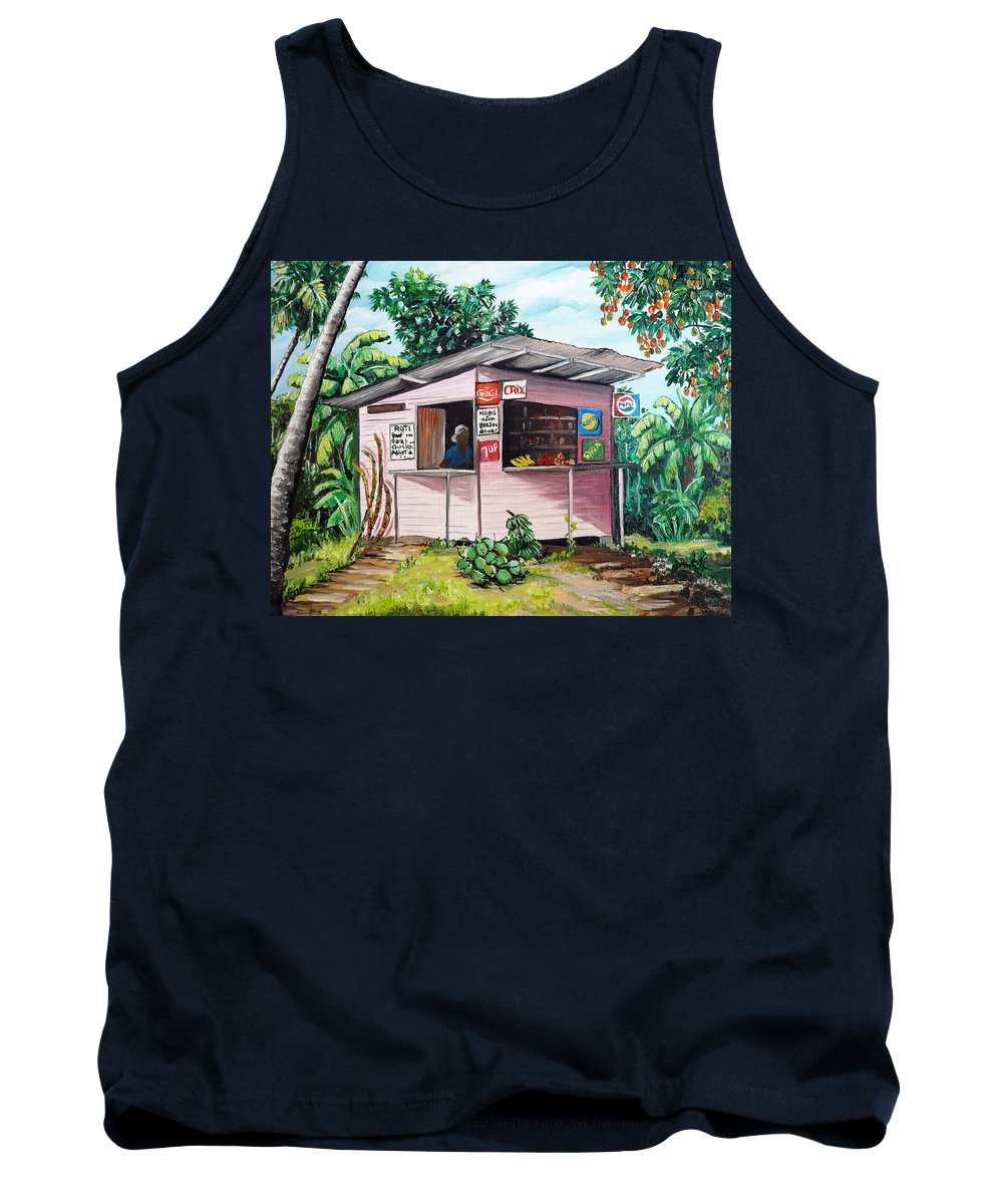 Shop Painting Tank Top featuring the painting Trini Roti Shop by Karin Dawn Kelshall- Best