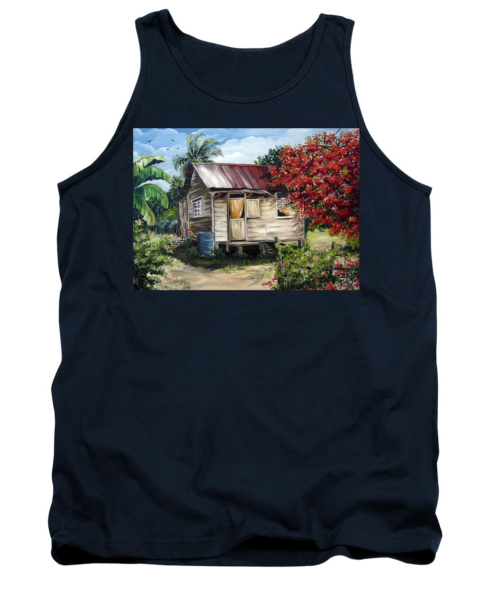 Landscape Paintings Tropical Paintings Trinidad House Paintings House Paintings Country Painting Trinidad Old Wood House Paintings Flamboyant Tree Paintings Caribbean Paintings Greeting Card Paintings Canvas Print Paintings Poster Art Paintings Tank Top featuring the painting Trinidad Life 1 by Karin Dawn Kelshall- Best