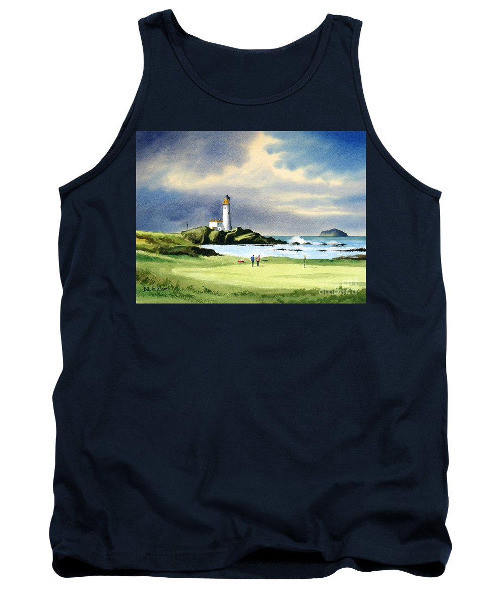 Turnberry Golf Course Tank Top featuring the painting Turnberry Golf Course Scotland 10th Green by Bill Holkham