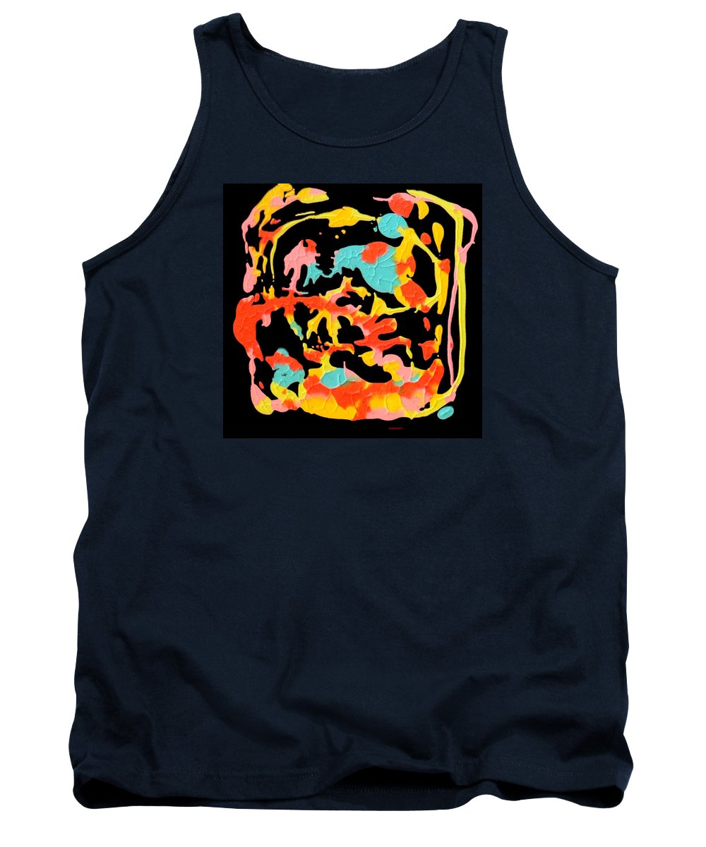 Spontaneous Color Blocking On A Black Ground Tank Top featuring the painting Two Carnival by David Chestnutt