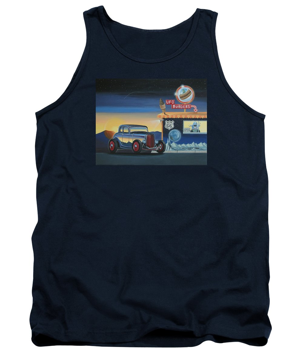 Hot Rod Tank Top featuring the painting U.f.o. Burgers by Stuart Swartz
