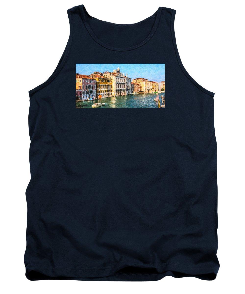 Venice Tank Top featuring the digital art Venice - Grand Canal by Liz Leyden