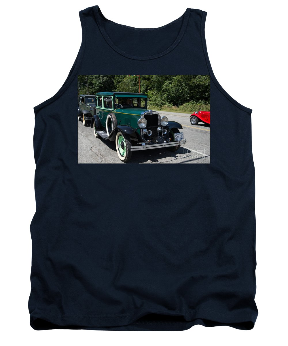Bowen Island Tank Top featuring the digital art Vintage Cars Green Chevrolet by Carol Ailles
