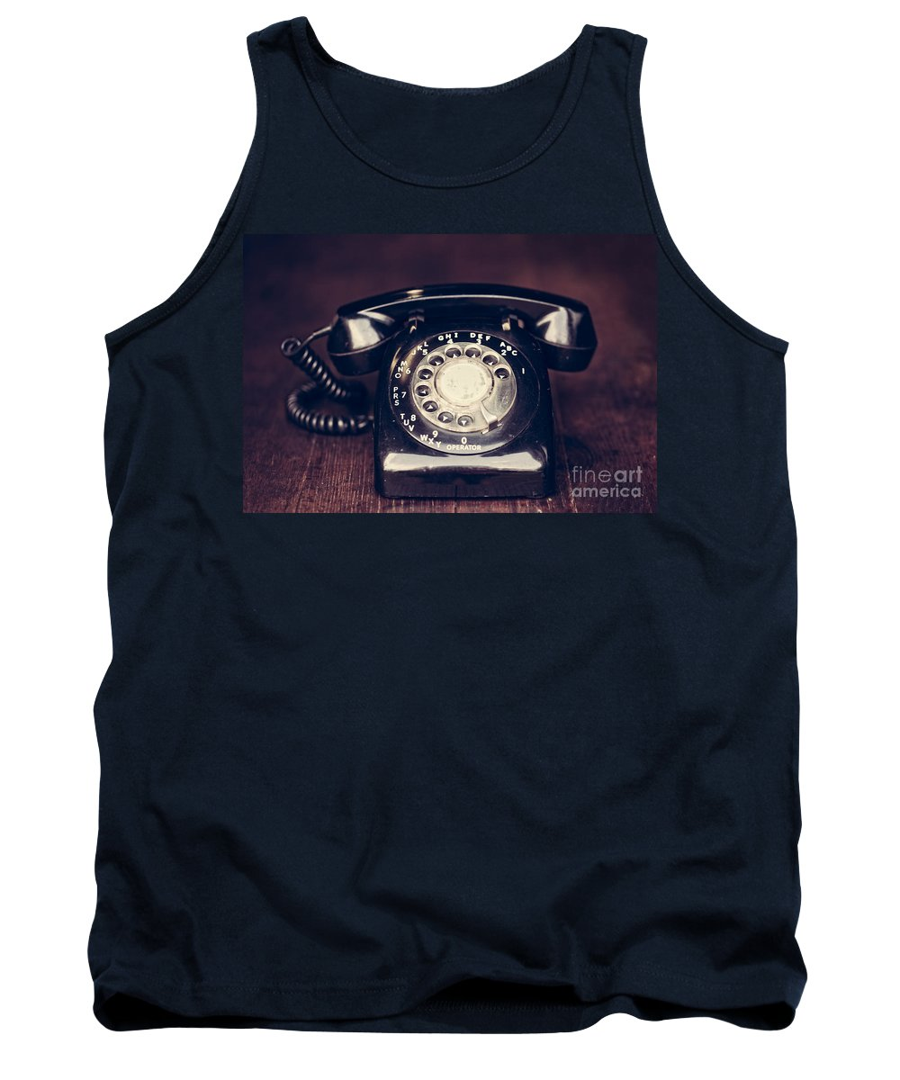 60s Tank Top featuring the photograph Vintage Rotary Phone by Leslie Banks