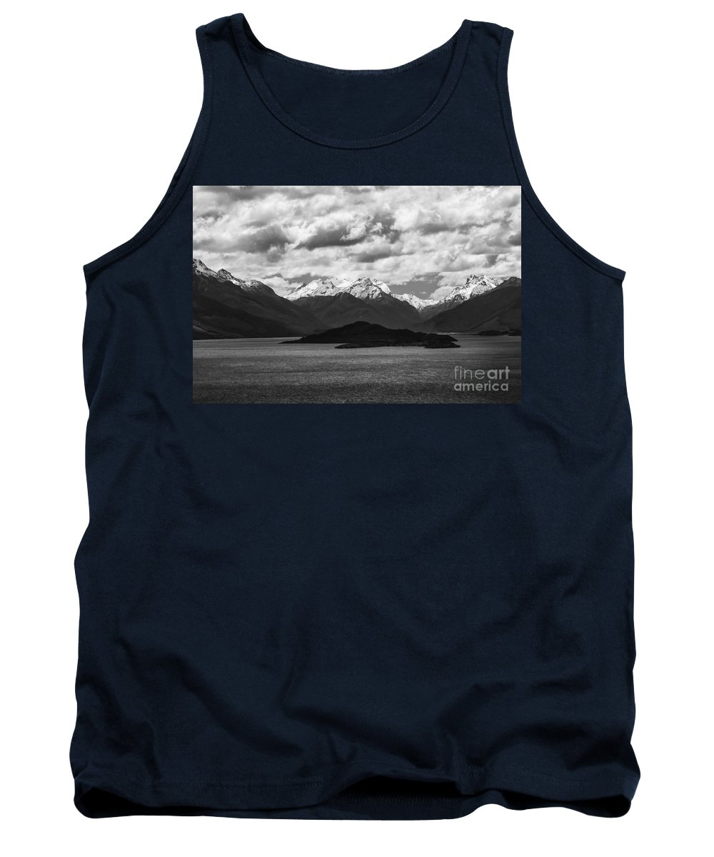 Queenstown New Zealand Lake Wakatipu Lakes Water Mountain Mountains Snow Landscape Landscapes Waterscape Waterscapes Black And White Peak Peaks Tank Top featuring the photograph Water---snow---clouds 2 by Bob Phillips