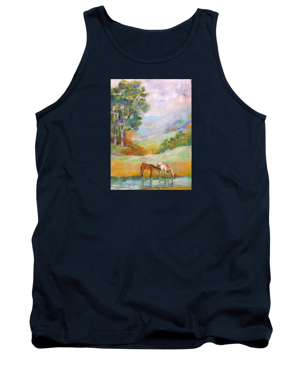 Horses Tank Top featuring the painting Water Hole by Mary Armstrong