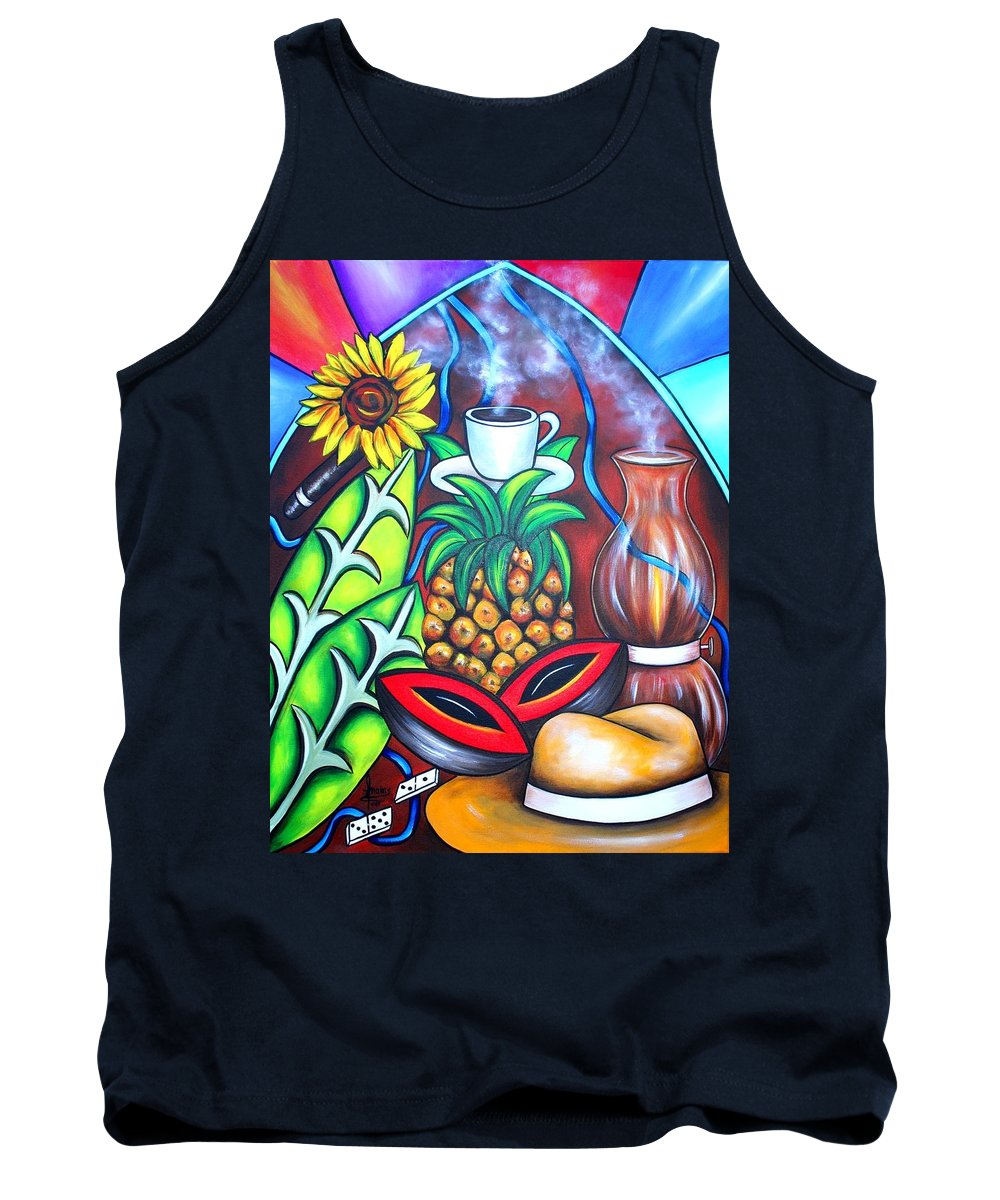Cuban Paintings Tank Top featuring the painting Welcome To Here And Now by Annie Maxwell
