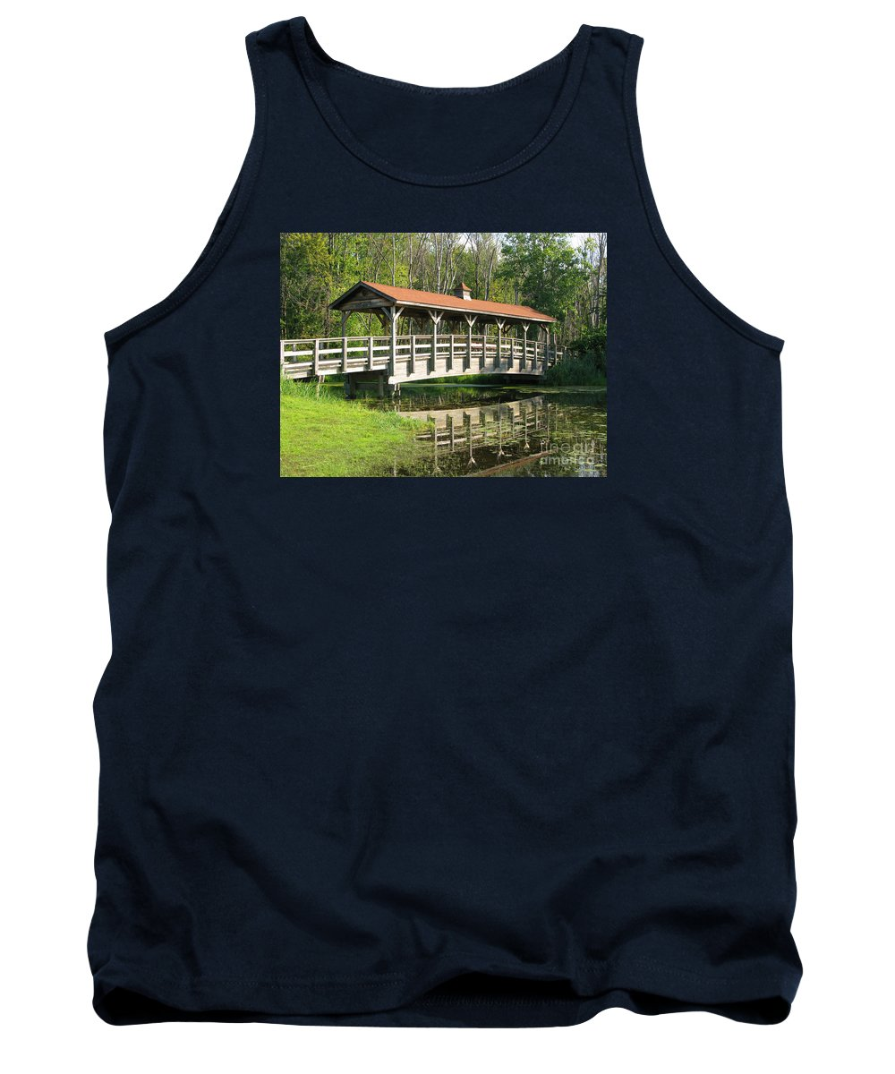 Bridge Tank Top featuring the photograph Wetland Footbridge by Ann Horn