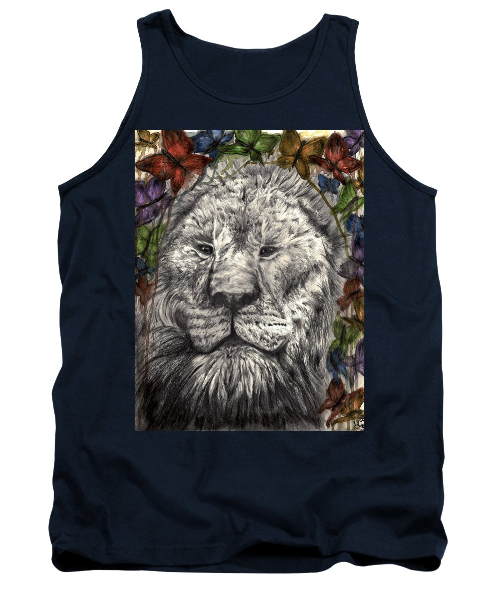 Lion Tank Top featuring the drawing Wind Beneath My Wings by Leia Sopicki