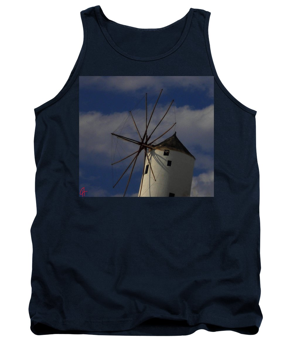 Colette Tank Top featuring the photograph Windmill On Santorini Island by Colette V Hera Guggenheim