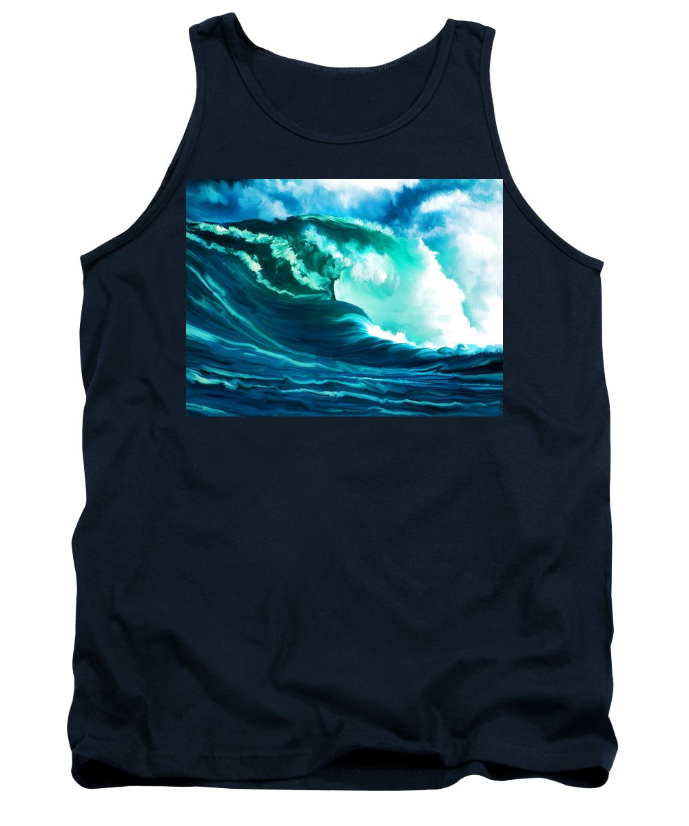Ocean Tank Top featuring the painting Winter Pacific Surf by Elaine Plesser