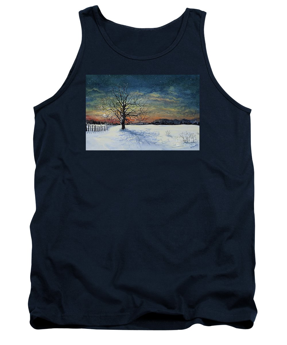 Oak Tree Tank Top featuring the painting Winters Eve by Mary Palmer