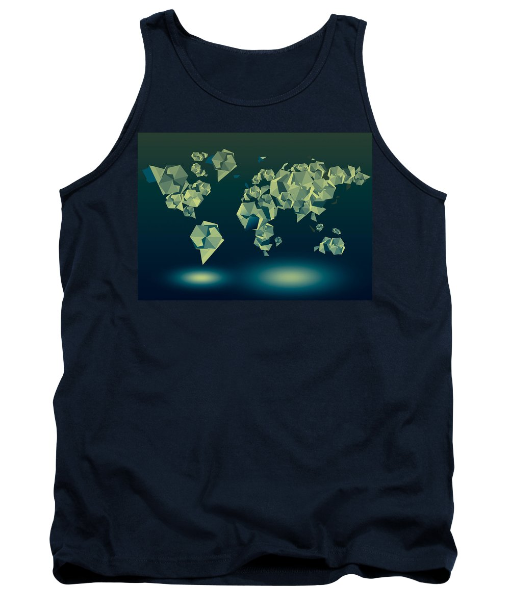 Map Of The World Tank Top featuring the painting World Map In Geometric Green by Bekim Art