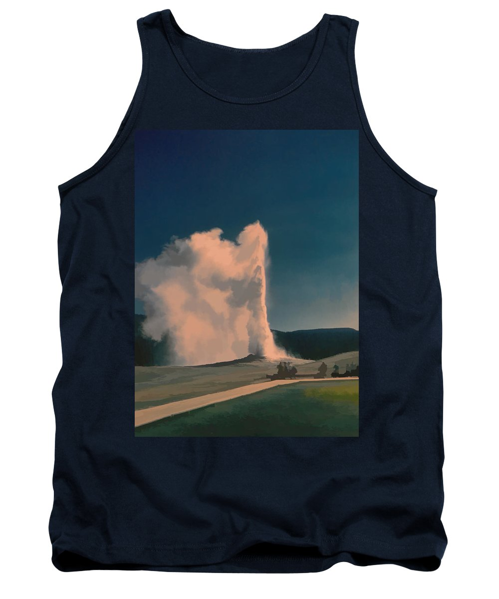Yellowstone Tank Top featuring the digital art Yellowstone -- Old Faithful Vintage by Cathy Anderson