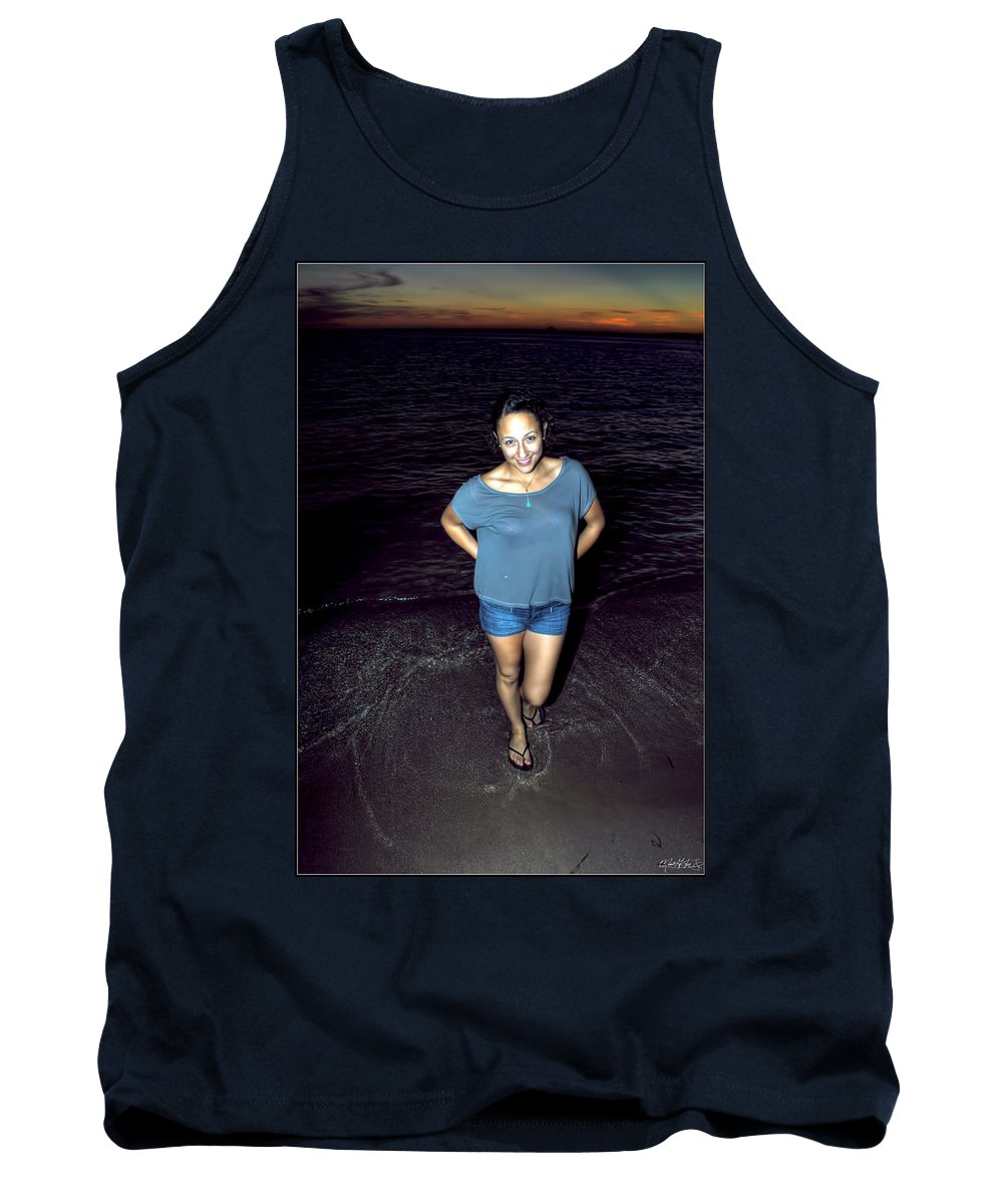 Tank Top featuring the photograph 013 A Sunset With Eyes That Smile Soothing Sounds Of Waves For Miles Portrait Series by Michael Frank Jr