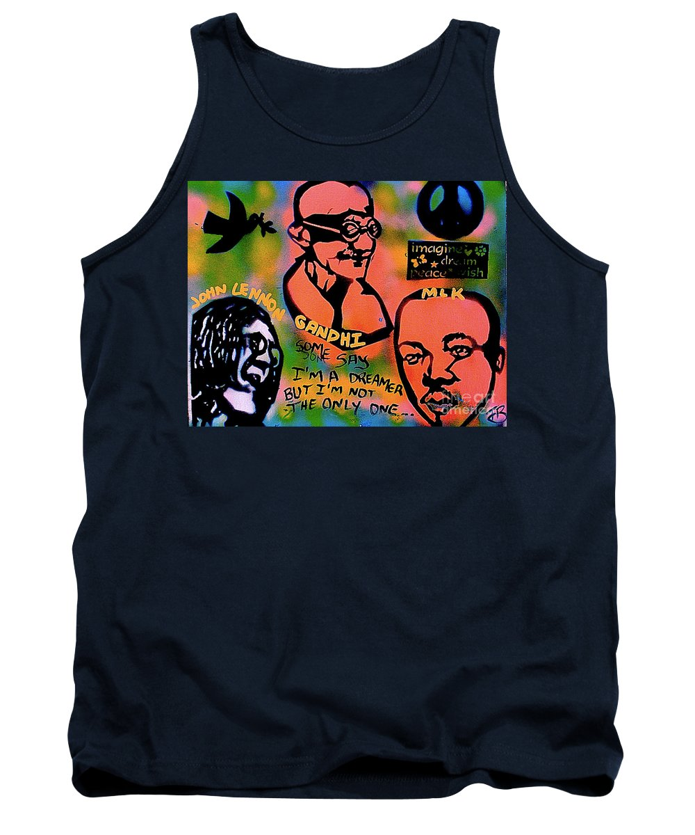 Ghandi Tank Top featuring the painting 3 4 Peace by Tony B Conscious