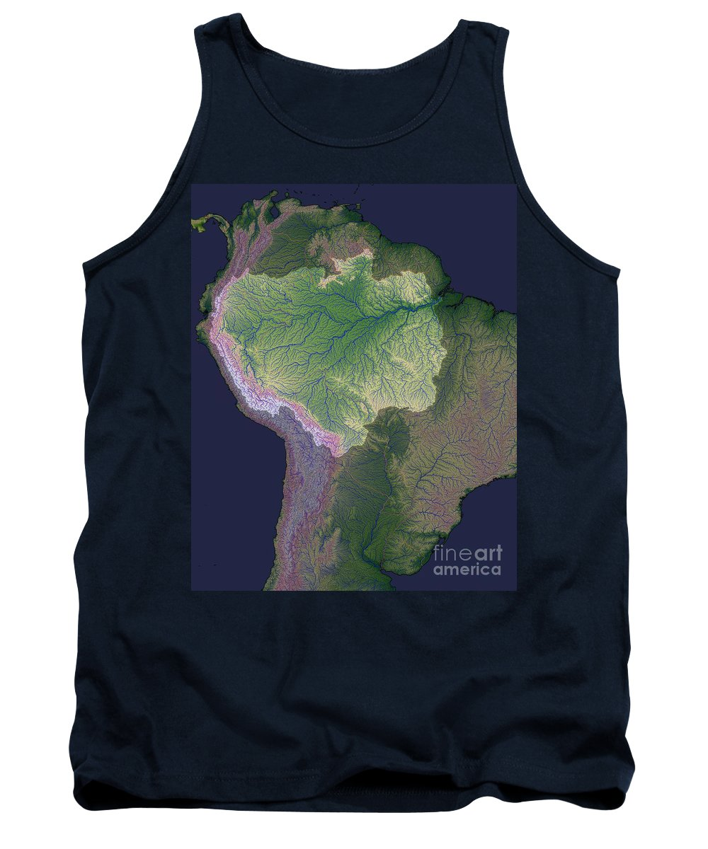 Satellite Tank Top featuring the photograph Amazon River Sources by Nasa