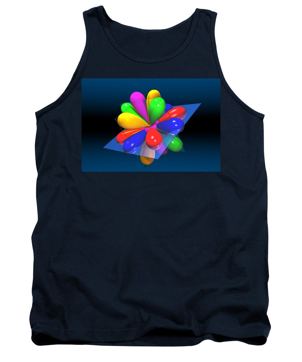 Atom Tank Top featuring the digital art Atomic Orbitals by Carol and Mike Werner